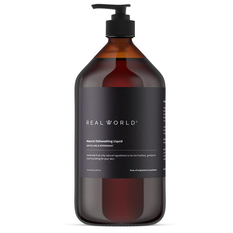 Real World NZ Dishwashing Liquid 1L - Kaffir Lime & Peppermint - Tea Pea Home