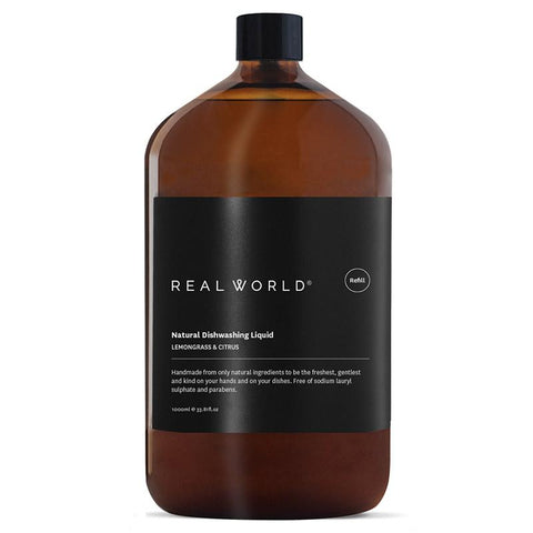 Real World NZ Dishwashing Liquid 1L Refill - Lemongrass & Citrus - Tea Pea Home