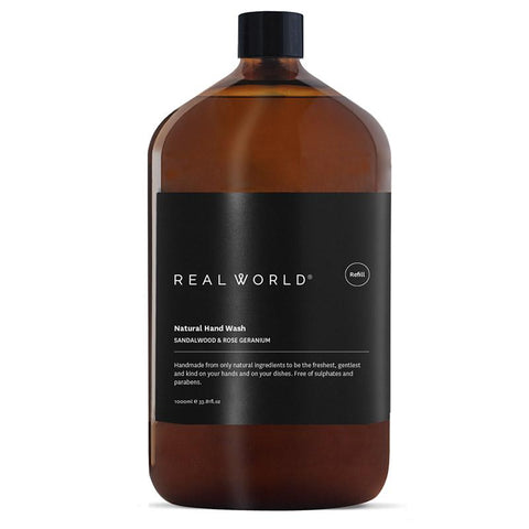 Real World NZ Hand Wash 1L Refill - Sandalwood & Rose Geranium - Tea Pea Home