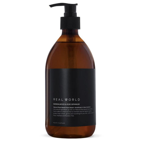 Real World NZ Hand Wash Glass Bottle - Sandalwood & Rose Geranium - Tea Pea Home