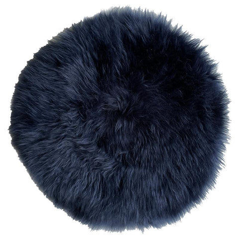 Sheepskin Circle Chair Pad - Dark Navy - Tea Pea Home