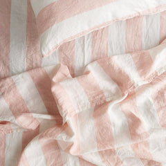 Society of Wanderers Pillowslip Set - Blush Stripe Ruffle