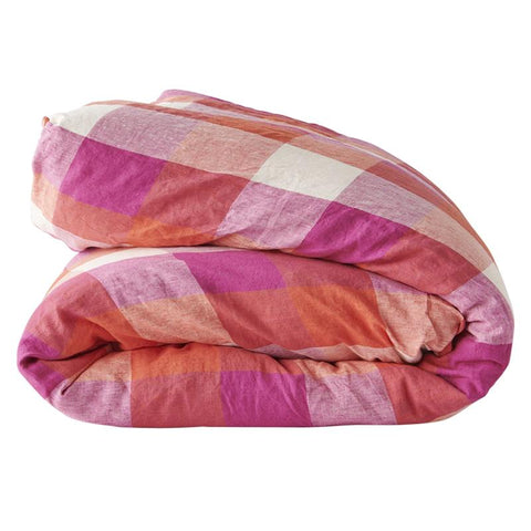 Society of Wanderers Duvet Cover - Sherbet Check - Tea Pea Home