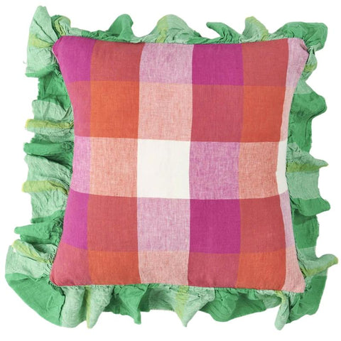 Society of Wanderers Ruffle Cushion Cover - Sherbet Check - Tea Pea Home