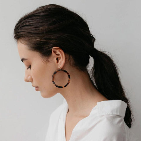 Sophie Hoop Earrings - Torty Dark - Tea Pea Home