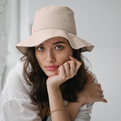 Sophie Linen Bucket Hat - Bone - Tea Pea Home