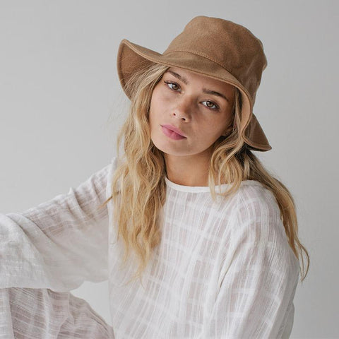 Sophie Wool Bucket Hat - Plain Camel - Tea Pea Home