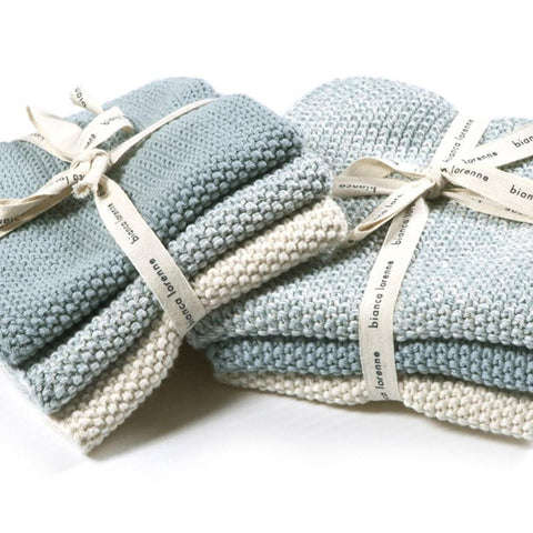 Bianca Lorenne Knitted Cotton Wash Cloth Set - Lavette Duck Egg Blue - Tea Pea