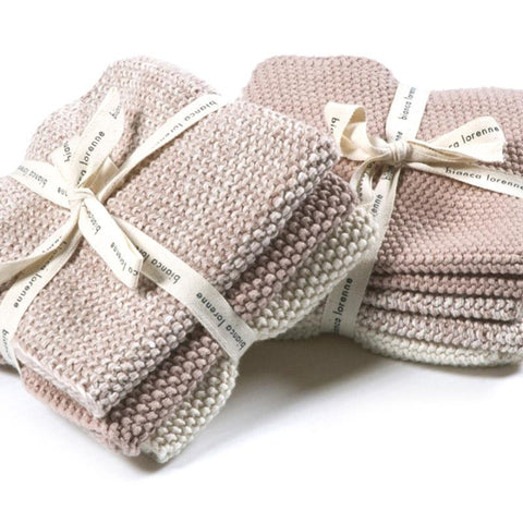 Bianca Lorenne Knitted Cotton Wash Cloth Set - Lavette Petal - Tea Pea