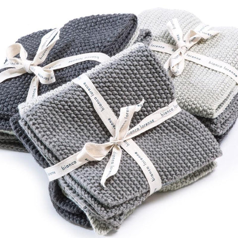 Bianca Lorenne Knitted Cotton Wash Cloth Set - Lavette Grey - Tea Pea