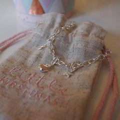 Little Kirstin Ash Charm - Heart Star Cluster Sterling Silver & 18k Rose Gold Vermeil - Tea Pea