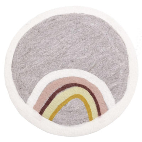 Muskhane France Felt Rug - Indreni in Natural & Light Stone - Tea Pea