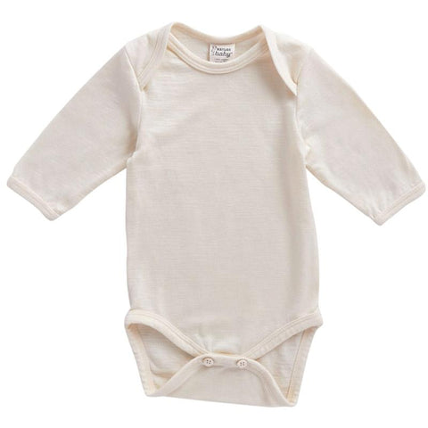 Nature Baby Merino Long Sleeve Bodysuit - Natural - Tea Pea
