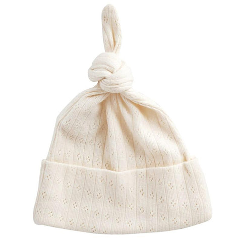 Nature Baby Organic Cotton Knotted Beanie - Pointelle Natural - Tea Pea Home