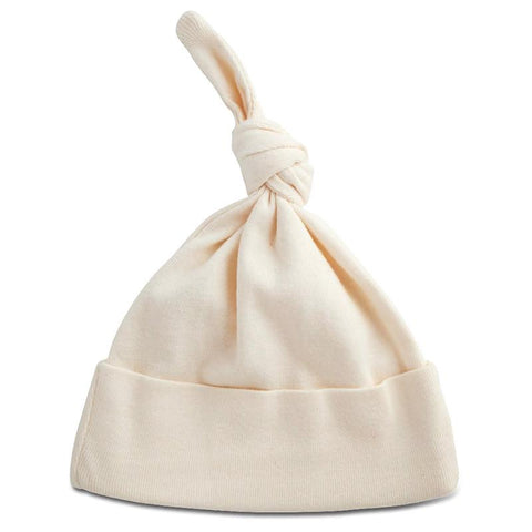 Nature Baby Organic Cotton Knotted Beanie - Natural - Tea Pea