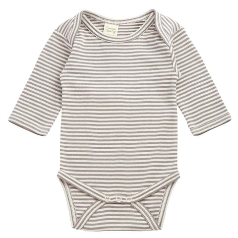 Nature Baby Organic Cotton Long Sleeve Bodysuit - Grey Stripe - Tea Pea Home