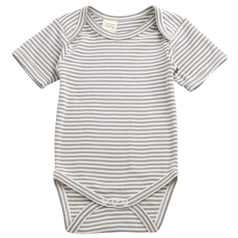 Nature Baby Organic Cotton Short Sleeve Bodysuit - Grey Marle Stripe - Tea Pea Home