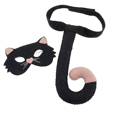 Pashom Nepal Felt Dress Up Mask & Tail Set - Cat
