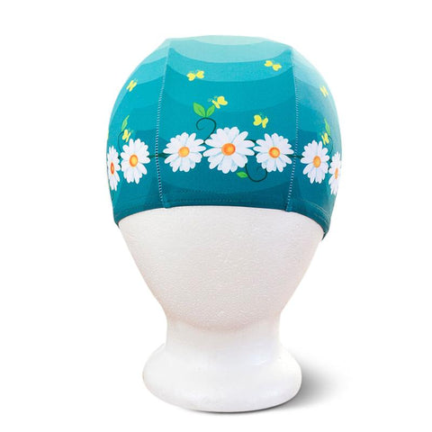 Poolbeanies Lycra Swim Cap - Daisy Chain in Green Fields - Tea Pea Home