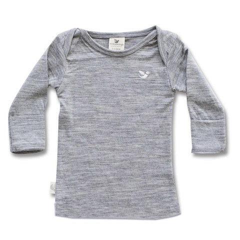 Roots & Wings NZ Organic Merino Baby Top Long Sleeved - Grey Marle - Tea Pea Home