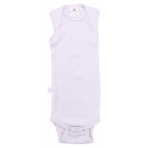 Roots & Wings NZ Organic Merino Rib Singlet Bodysuit - Dusty Rose - Tea Pea