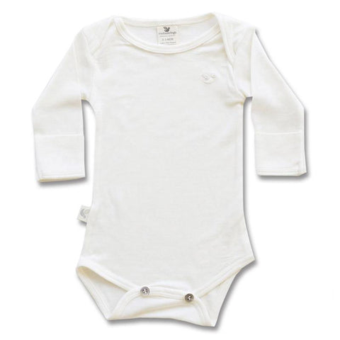 Roots & Wings NZ Organic Merino Bodysuit - Natural Front