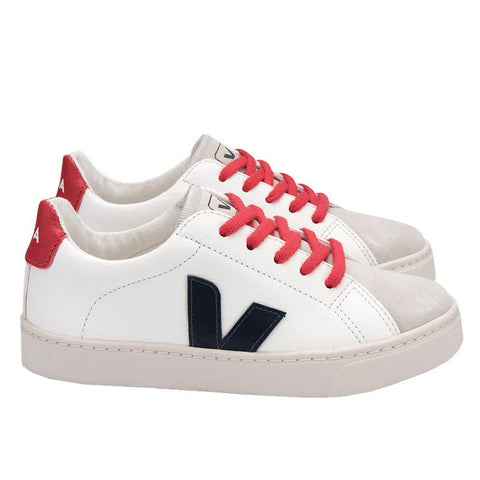 Veja Kids Esplar Leather Lace Sneakers - White & Nautico Pekin - Tea Pea Home