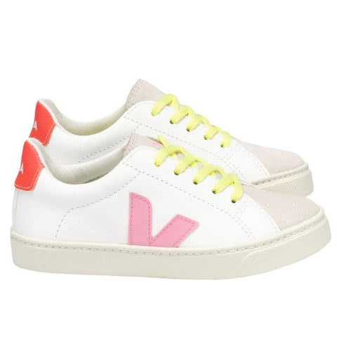 Veja Teen Esplar Leather Laced Sneakers - Orange Fluro - Tea Pea Home
