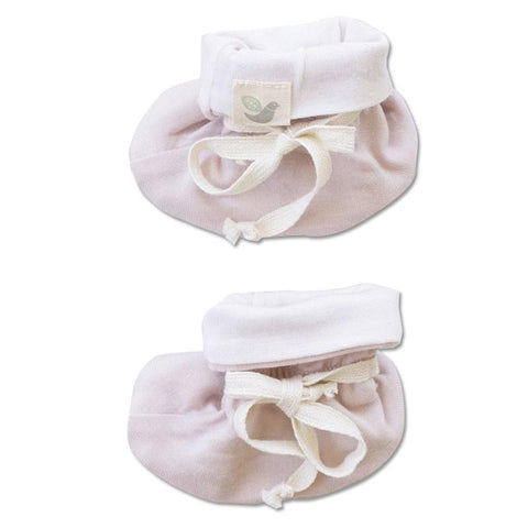 Roots & Wings NZ Organic Merino Booties - Dusty Rose - Tea Pea