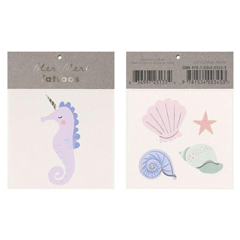 Meri Meri UK Temporary Tattoo Set - Seahorse & Shell - Tea Pea Home