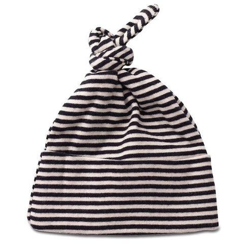 Nature Baby Organic Cotton Knotted Beanie - Navy Stripe - Tea Pea Home