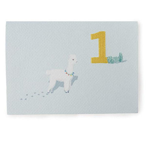 Down to the Woods Embroidered Card - Alpaca 1st Birthday - Tea Pea