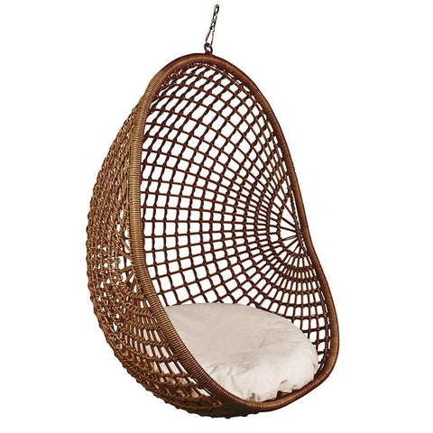 Synthetic Rattan Pod Chair - Open Weave Dark Natural - Tea Pea Home