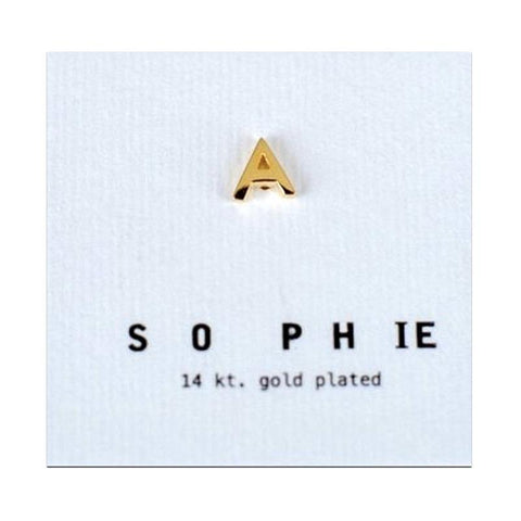 Sophie Earrings - Individual Letter Stud 14K Gold Plated - Tea Pea