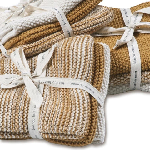 Lavette Knitted Cotton Wash Cloths - Ochre