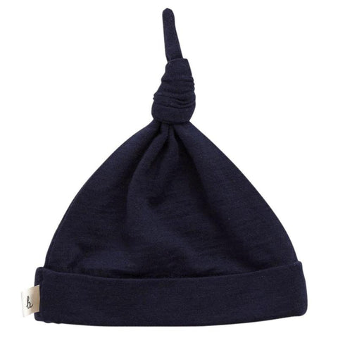 Nature Baby Merino Knotted Beanie - Navy - Tea Pea