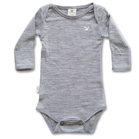 Roots & Wings Organic Merino Bodysuit Grey Marle Front