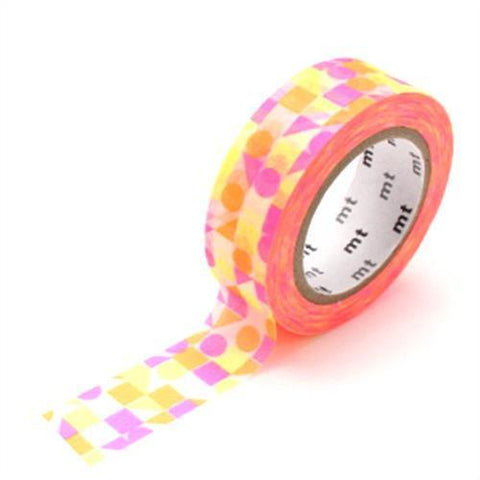 Kamoi Kakoshi Japan MT Washi Tape - Circle Triangle Square Pink Deco 15mm - Tea Pea