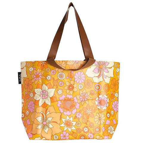 Kollab Poly Shopper Tote - Retro Mustard Floral - Tea Pea Home