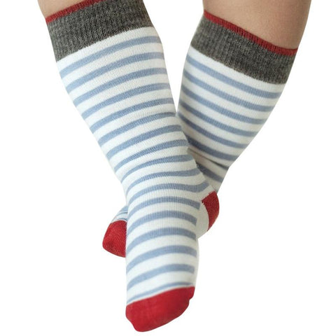Roots & Wings NZ Organic Merino Knee High Socks - Blue & White Stripe with Red Contrast - Tea Pea