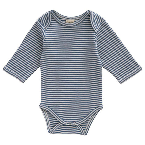 Nature Baby Organic Cotton Long Sleeve Bodysuit - Navy Stripe