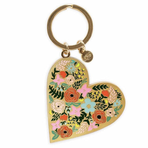 Rifle Paper US Brass & Enamel Keychain - Floral Heart - Tea Pea Home