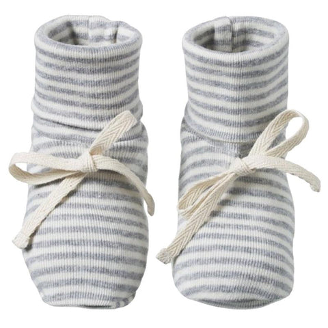 Nature Baby Organic Cotton Booties - Grey Marle Stripe - Tea Pea Home