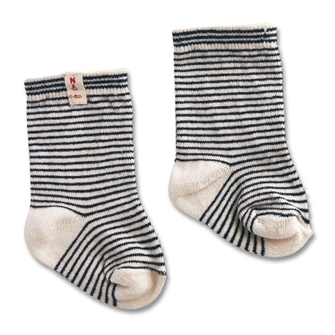 Nature Baby Organic Cotton Socks - Navy Stripe - Tea Pea Home