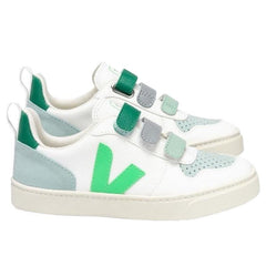 Veja Kids V10 Leather Velcro Sneakers - White Absinthe - Tea Pea Home