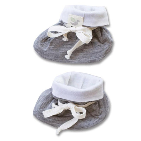 Roots & Wings NZ Organic Merino Booties - Grey Marle - Tea Pea Home