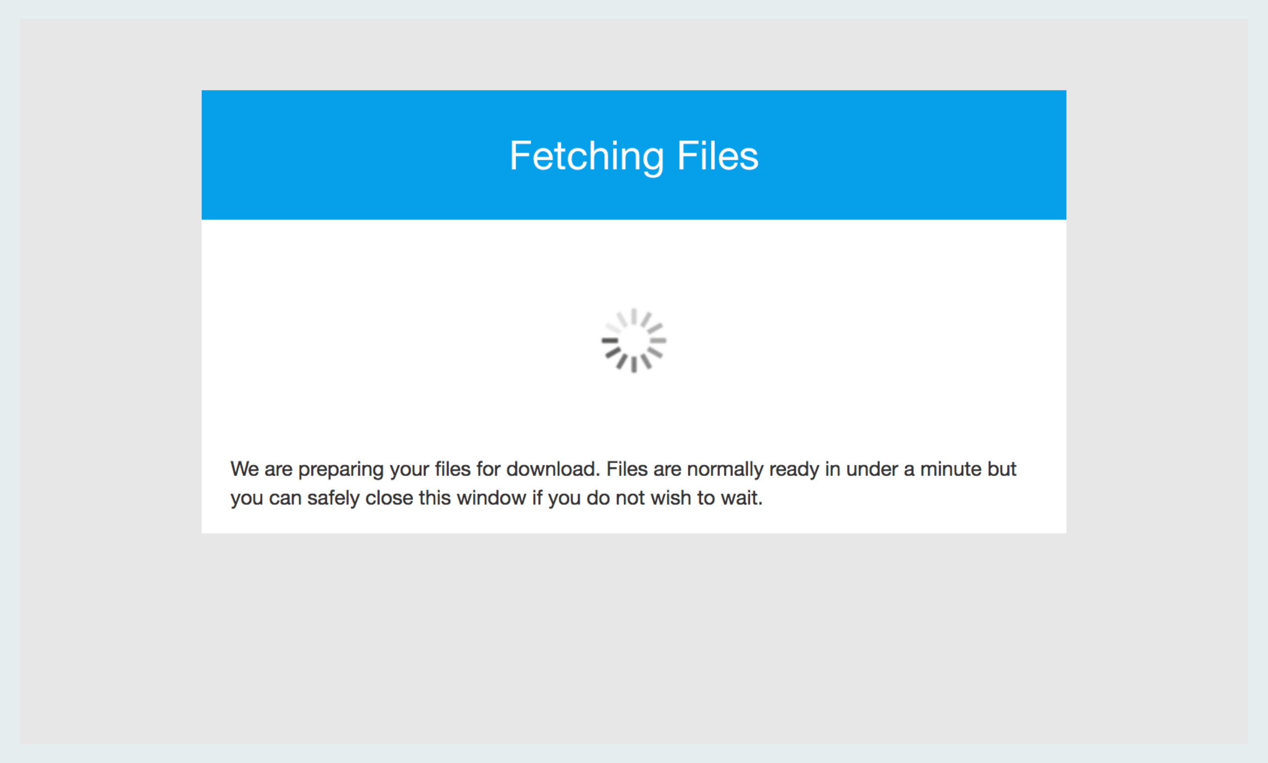How to download The Koh Samui Guide on slow internet: The 'fetching files' screen before download