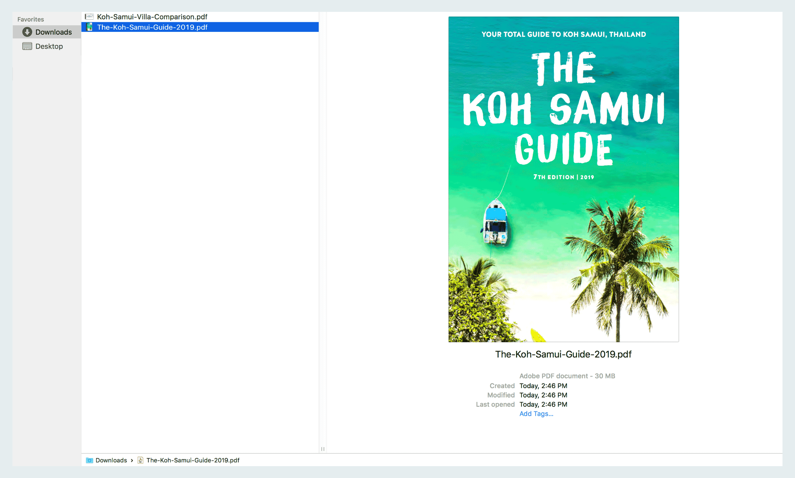 How to download The Koh Samui Guide to your desktop or laptop computer: Step five