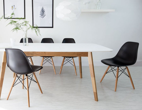 Eames Style Plastic Dining Chair With Wooden Legs