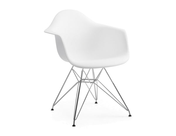 Eames plastic armchair with metal chrome legs for Chaise eames metal